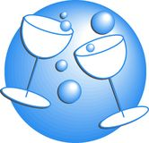 Party Drinks. Two party celebration glass drinks with champagne bubbles Royalty Free Stock Photography