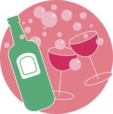 Party Drinks. Celebratory drinks design. Cheers! With a champagne bottle and two glasses and lots of pink bubbles Royalty Free Stock Images