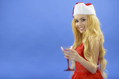 Party, drinks, christmas, x-mas concept - smiling woman in red d Stock Photos