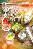 Party drinks Cocktails fruits ice Juice Aperitif Vintage stock photos