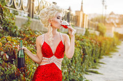 Party, drinks, holidays, luxury and celebration concept - smilin Royalty Free Stock Image