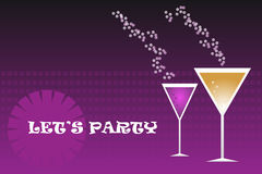 Party drinks - vector. Party Drinks on modern violet background,useful as invitation.EPS file available Stock Images