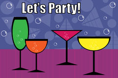 Party drinks - vector. Party drink colorful background with four glasses and bubbles.EPS file available Royalty Free Stock Photos