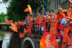Party for Dutch football team. Party for the Dutch football team in Amsterdam in Holland Royalty Free Stock Photography