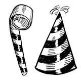 Party el bosquejo del sombrero y del noisemaker Foto de archivo