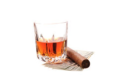 Party elements. Drink, cash and cigar on white Stock Photos