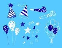 Party Elements Illustration. Party illustration design elements on blue background Royalty Free Stock Photo