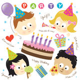 Party elements w/ kids Royalty Free Stock Photos