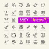Party elements web icon set - outline icon set vector illustration