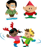 Party elves. Elves and pixies having holiday fun stock illustration