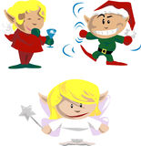 Party elves. Elves and pixies having holiday fun vector illustration