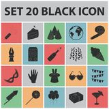 Party, entertainment black icons in set collection for design. Celebration and treat vector symbol stock web. Party, entertainment black icons in set collection Stock Image