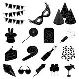 Party, entertainment black icons in set collection for design. Celebration and treat vector symbol stock web Royalty Free Stock Photography