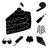 Party, entertainment black icons in set collection for design. Celebration and treat vector symbol stock web. Party, entertainment black icons in set collection Royalty Free Stock Image
