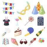 Party, entertainment cartoon icons in set collection for design. Celebration and treat vector symbol stock web Royalty Free Stock Photos
