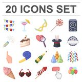 Party, entertainment cartoon icons in set collection for design. Celebration and treat vector symbol stock web. Party, entertainment cartoon icons in set Stock Images