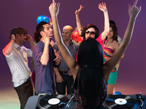 Party and entertainment with dj mixing Royalty Free Stock Photography