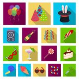 Party, entertainment flat icons in set collection for design. Celebration and treat vector symbol stock web illustration. Party, entertainment flat icons in set Stock Photo