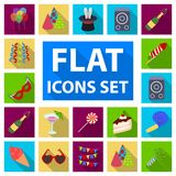 Party, entertainment flat icons in set collection for design. Celebration and treat vector symbol stock web illustration. Party, entertainment flat icons in set Royalty Free Stock Images