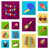 Party, entertainment flat icons in set collection for design. Celebration and treat vector symbol stock web illustration. Party, entertainment flat icons in set Royalty Free Stock Photography