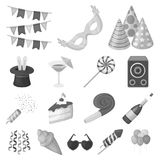 Party, entertainment monochrome icons in set collection for design. Celebration and treat vector symbol stock web. Party, entertainment monochrome icons in set Royalty Free Stock Images