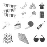 Party, entertainment monochrome icons in set collection for design. Celebration and treat vector symbol stock web. Party, entertainment monochrome icons in set Royalty Free Stock Photos