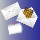 Party envelope. Envelope with party message on the blue background Royalty Free Stock Photography