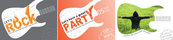 Party and environment concept with guitar. Vector images for illustrating an invitation at a party with rock music and guitar concert. Image illustrating a free Stock Photo