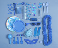 Party essentials on blue tones. Stock Photos