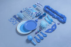 Party essentials on blue tones. Royalty Free Stock Images