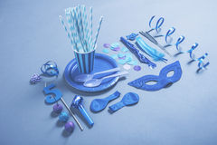 Party essentials on blue tones. Royalty Free Stock Image