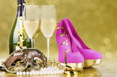 Party event concept. Champagne with blur light, in golden tone, suited for party event concept Stock Photography