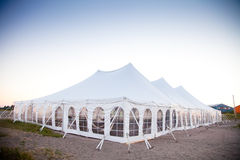 A party or event white tent. Party or event white tent during the evening Royalty Free Stock Photo