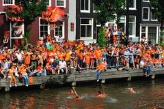 Party für holländisches Fußballteam Lizenzfreie Stockfotos