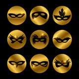 Party face masks icons with glowing elements. Of set isolated on black. Vector illustration stock illustration