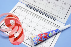 Party Favors and Calendar Royalty Free Stock Photo