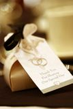 Party favours. Little boxes of Chocolates at a local wedding royalty free stock images