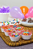 Party. Fest, party decorated table, children& x27;s party, colored balloons, candy and candies, assorted cookies and candies Royalty Free Stock Photography