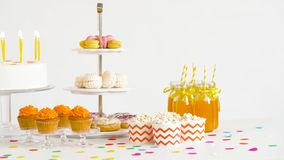 Food and drinks on table at birthday party stock video footage