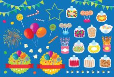 Party Fireworks Candy Pop Corn and Balloon Vector Illustration. For many purpose such as invitation card, print on paper, print as party property tools, etc royalty free illustration
