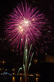 Party. Fireworks during village festival in summer Stock Photos