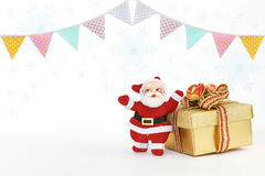 Party flag and Santa Claus with Christmas gift box. On white background Royalty Free Stock Images