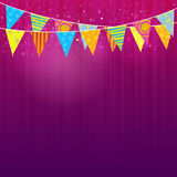Party Flags. Colorful party flags hanging on the ceiling Stock Image