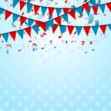 Party flags abstract USA background with confetti Stock Images