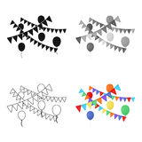 Party flags and balloons icon in cartoon style isolated on white background. Event service symbol stock vector. Party flags and balloons icon in cartoon style Royalty Free Stock Photos