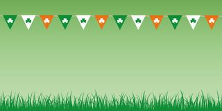 Party flags with clover leaves on green background with meadow royalty free illustration