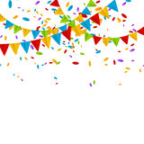 Party flags. With color confetti Royalty Free Stock Photos