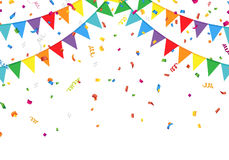 Party flags with confetti Royalty Free Stock Photo