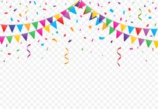 Party flags with Confetti vector. Party Flags with Confetti And Ribbons on transparent background, buntings garlands vector Royalty Free Stock Photography