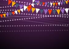 Party flags celebrate abstract background. Party flags dark purple celebrate abstract background. Vector design Royalty Free Stock Photography